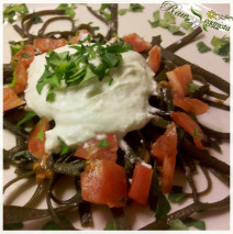 """Courgette """"Pasta"""" w/ Raw Almond Alfredo Sauce"""