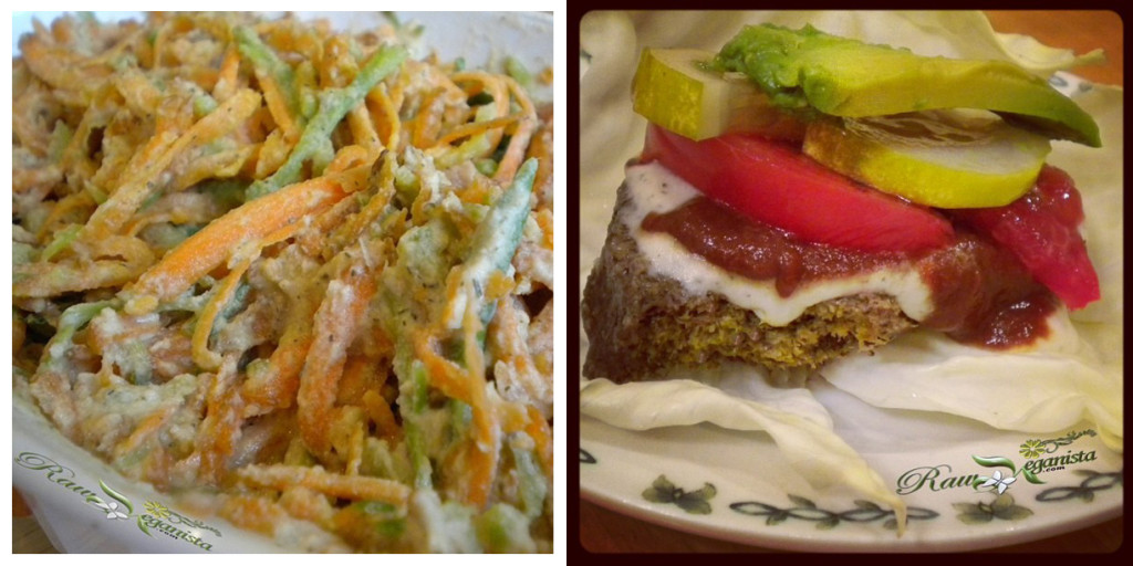 "Left: Shredded salad of carrot & broccoli w/sunflower ranch dressing. Right: Raw veggie burger with sunflower ranch, raw ketchup, sliced heirloom tomato, refrigerator pickles, & fresh avocado slices on ""bun"" of white cabbage."