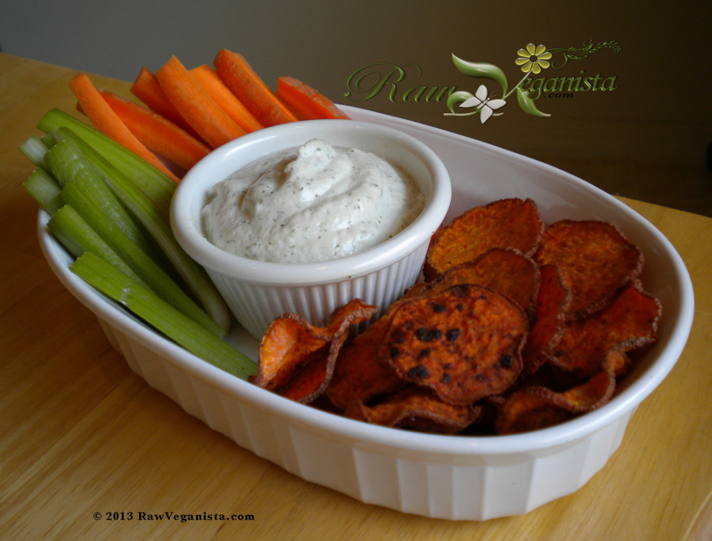Spicy sweet potato crisps with living sunflower ranch dip & raw veggies