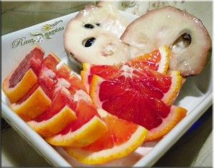 Sliced blood oranges & cherimoyas from Rick's Seasonal Produce in Fallbrook, CA