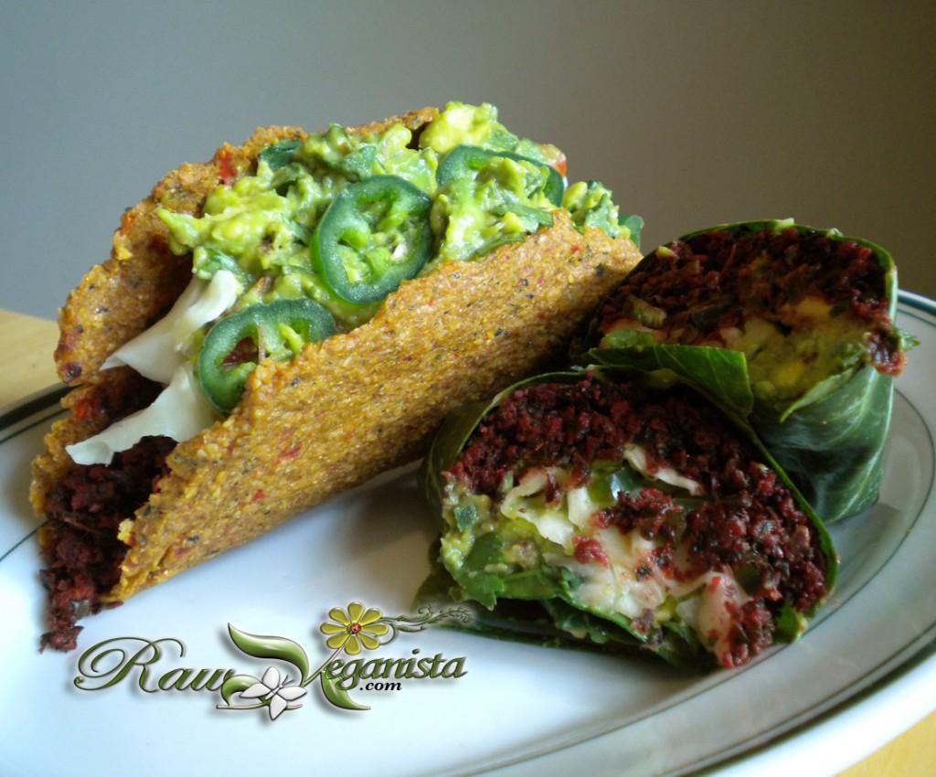 Low-fat raw vegan hard-shell tacos