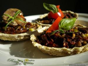 Raw vegan mushroom & sundried tomato tarts