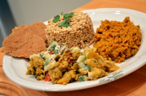 Raw Vegan Curry & Korma Plated w/Raw Oat Biryani
