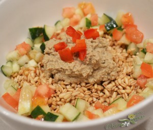 "Raw Hoummous w/Oat ""Rice"" & Savoury Fruits"
