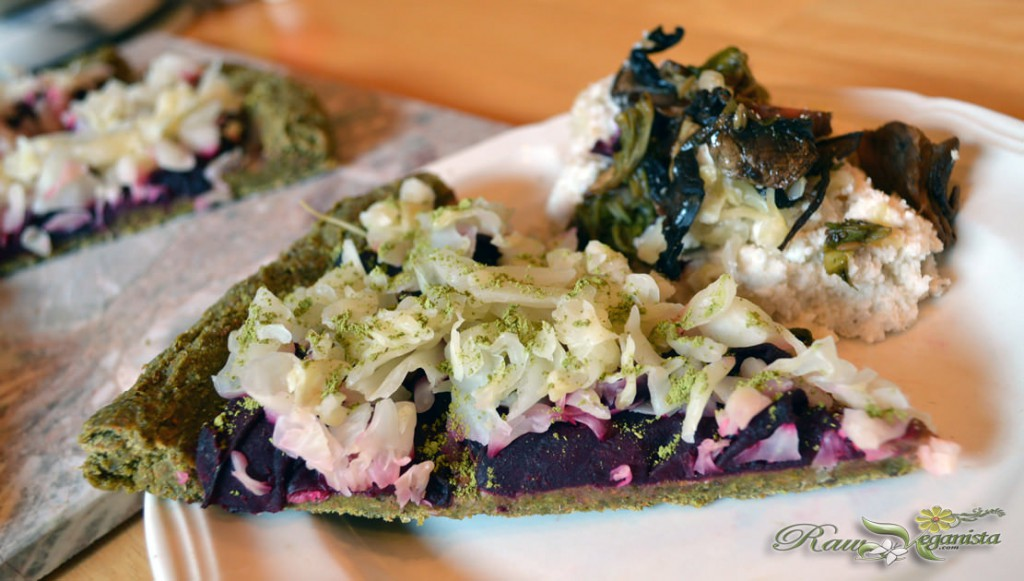Slice of the raw Reubenpie, garnished with a sprinkle of dried moringa leaves to add some green St. Patty's Day cheer! =)